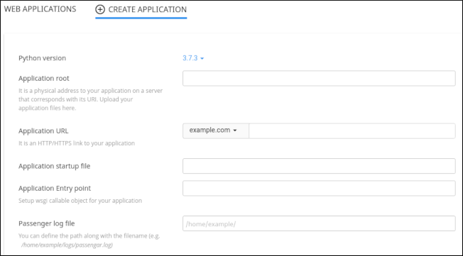 cPanel - Python - Create application form