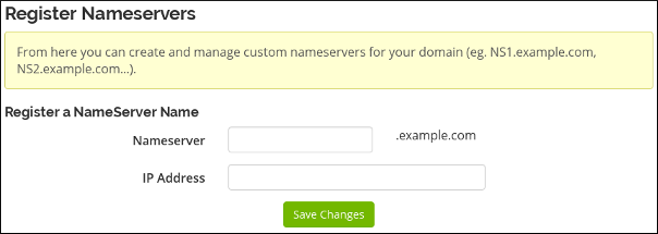 Customer Portal - Domains - Register nameserver