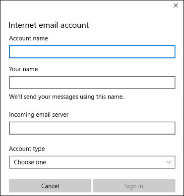 Microsoft Mail - Internet email account dialog box