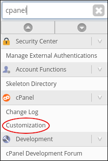 WebHost Manager - cPanel Customization
