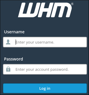 WebHost Manager login page